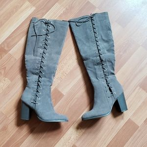 Shoedazzle gray over the knee heeled boots
